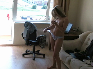Sexy Blonde Teen Spied Changing Clothes
